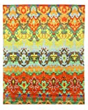 EORC Hand Knotted Bamboo Silk Ikat Rug, 8' x 10', Multicolor