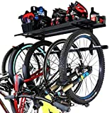 StoreYourBoard Bike Rack + Storage Shelf, Holds 5 Bicycles, Garage Adjustable Bike Wall Mount