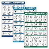 QuickFit 3 Pack - Dumbbell Workouts + Kettlebell Exercises + Bodyweight Routine Poster Set - Set of 3 Workout Charts (Laminated, 18' x 27')