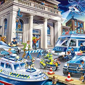 Larsen US32 Policía atrapando a los Ladrones de Bancos, edición en Neutral, Puzzle de Marco con 43 Piezas