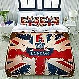 Funda nórdica, Maleta de Viaje Vintage con Cinta británica de la Bandera de Londres e Imagen de la Corona, Juego de Cama Juego de Fundas de edredón de poliéster Ultra cómodo y Ligero