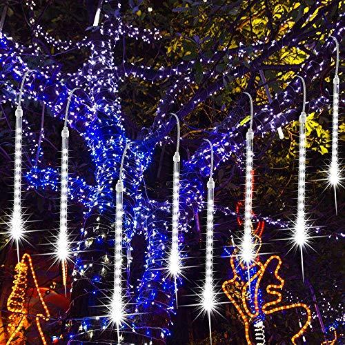 Pioggia di Luci LED, EEIEER Luci Pioggia Meteore Luci Della Pioggia di Meteore IP65 Luci Pioggia Natale Halloween Albero del Giardino Festa di Nozze (Bianco-30cm 8Tubes 192LEDs)