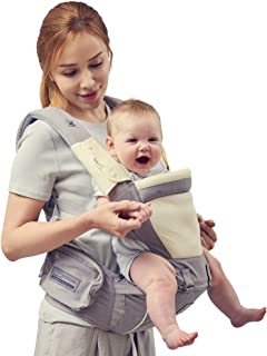 Bebamour Baby Carrier Ergonomic with Hip Seat 100% Cotton Approved by U.S. Safety..