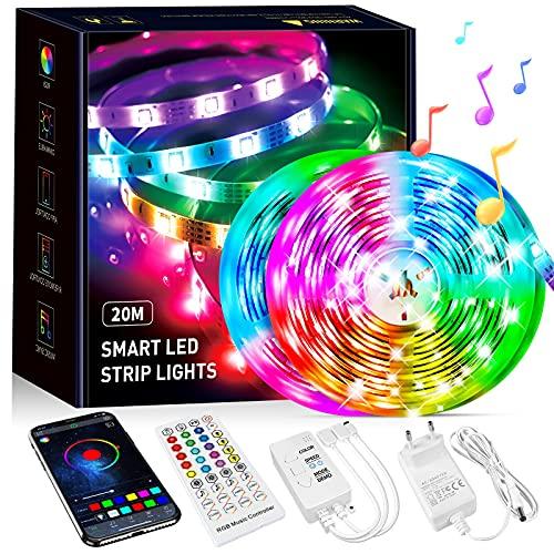 Striscia LED 20M,Striscia LED RGB 5050 Dimmerabile con Controller Bluetooth Sincronizza con la Musica Adatto per Bar, Camera da Letto, Decorazioni per Feste e per la Casa (2X10m)