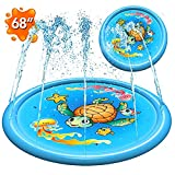 (68') Inflatable Splash Pad Sprinkler for Kids Toddlers, Kiddie Baby Pool, Outdoor Games Water Mat Toys - Baby Infant Wadin Swimming Pool - Fun Backyard Fountain Play Mat for 1 -12 Year Old Girls Boys