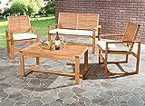 Safavieh Home Collection Hailey Outdoor Living Acacia Patio Set, Brown, 4-Piece