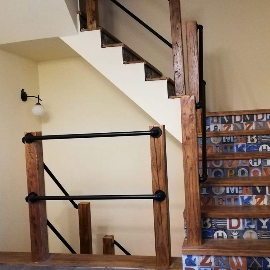 Amazon Com Staircase Handrail 4Ft Complete Kit Wrought Iron | Iron And Wood Railing | Modern | Brown | Front | Horizontal | Craftsman