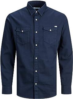 Jack & Jones JJEWESTERN Solid Shirt L/S AU20 Noos Camisa, Navy Blazer/Fit: Slim Fit, XS para Hombre