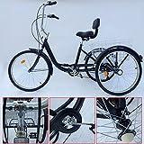 SENDERPICK - Tríciclo de Bicicleta para Adultos de 6 velocidades con 3 Ruedas, 26 Pulgadas, con Pedal, con Cesta Blanca para Deportes al Aire Libre, Compras, Ajustable, Negro