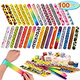 Toyssa 100 PCS Slap Bracelets Party Favors with Colorful Hearts Emoji Animal Print Design Retro Slap Bands for Kids Adults Birthday Classroom Gifts (100PCS)