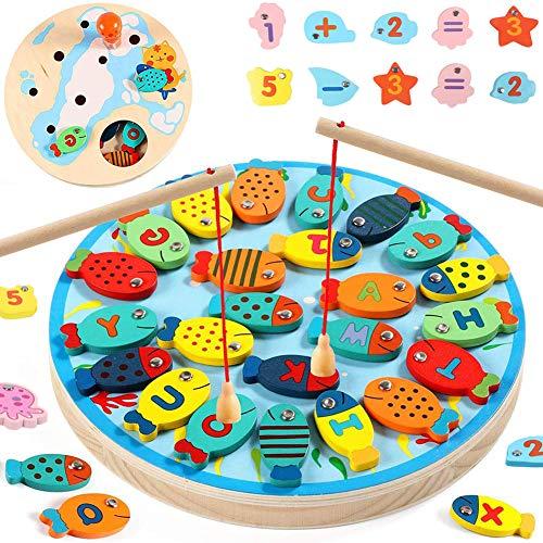 HahaGo 2 in 1 Gioco di Pesca Alfabeto Magnetica Giocattoli Digitale da Pesca educativo di apprendimento prescolare per Regali di Compleanno per Bambini di Bambine