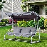 Hollywoodschaukel Gartenschaukel 3-Sitzer Liegefunktion Stahl - 2