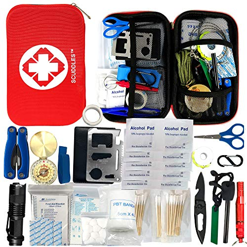Scuddles First Aid Kit-Emergency Trauma Camping Kit-Outdoor Portable Medical Survival Kit-for Camping Hunting Military Hiking Home Car Cycling Earthquake Backpacking Adventures