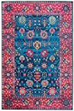 Mylife Rugs Traditional Vintage Non Slip Machine Washable Printed Area Rug, Blue Hot Pink 3'x5'