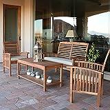 Walker Edison Furniture Company Solid Acacia Wood Patio Coffee Table