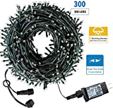 Drunze Christmas Light String 105Ft 300 LED, end-to-end Expandable Plug, 8 Models Waterproof Outdoor Indoor Fairy Christmas Tree String for Party, Garden, Wedding, Holiday (Warm White)