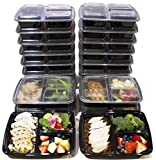 [20 Pack] 3 Compartment Meal Prep Containers BPA Free Portion Control Bento Boxes (39 Oz.) (Kitchen)