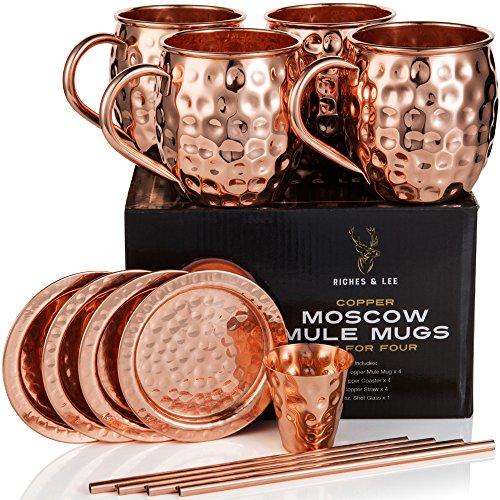 Riches & Lee Bicchieri di Rame Moscow Mule Include 4 Bicchieri, 4 sottobicchieri, 4 cannucce, 1 Misurino più Accessori in Rame Puro al 100% Bicchieri a barile