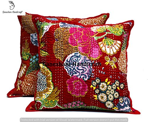 indiano kantha Home Living Room Decor a mano cotone federa decorativo, cuscino divano, hippie chic...