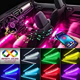 Car Interior Lights, Caferria Car LED Strip Light 4pcs 48 LED App Controller Waterproof Multi DIY Color Music Under Dash Car Lighting Kits with Sound Active Function for Smart Phone, Car Charger DC 12