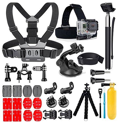 YEHOLDING 25-In-1 Accessori per Gopro,Kit di accessori per action camera per GoPro Hero 9 8 7 6 5 4 3 SJ4000 DBPOWER e altre fotocamere per lo sport (25 in1)