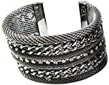 Linpeng Mesh Cable Chains and Rhinestones Gun Metal Cuff Bangle