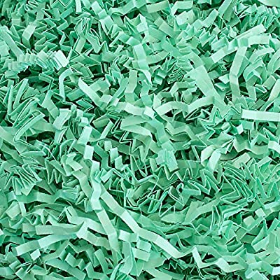 Contains (1 LB) Of Crinkle Cut Paper Shred Filler - Mint Crinkle cut colored shredded paper makes a great bed for displaying your product Perfect for Gift Wrapping & Basket Filling those extra spaces you have in your packages Attractive void fill for...
