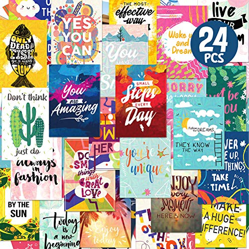 Deeplay Motivational Encouragement Greeting Cards, 24 Packs Holographic Inspirational Quote Cards, Thinking of You, Appreciation and Kindness Cards for Colleagues, Classmates, Family and Friend, with 24 Envelopes and Stickers