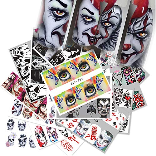 Day of the Dead Nail Stickers Halloween Nail Art Decorations Skull Nail Art Decals Ghost Web Blood Eye Spider Water Transfer Nail Accessories for Halloween Party Favors 300+patterns Nail Decorations