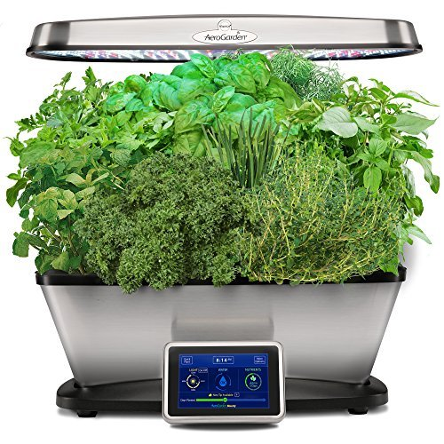 AeroGarden 903120-1200 Classic 9 Elite-Stainless Steel Garden