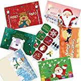 """24 Christmas Cards Set- Holiday Greeting with Envelopes and Stickers,6 Unique Designs -Winter Merry Christmas Season, Holiday Gift Giving, Xmas Gifts Cards - 7.87 x5.9"""""""