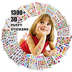 20-sheet 3D colorful puffy stickers Marvelous combination of 1300+ stickers Notes taking, scrapbook and diary decorating for both kids and adults Inspiring kids' learning interest as a reward High quality and great price. What are you waiting for!