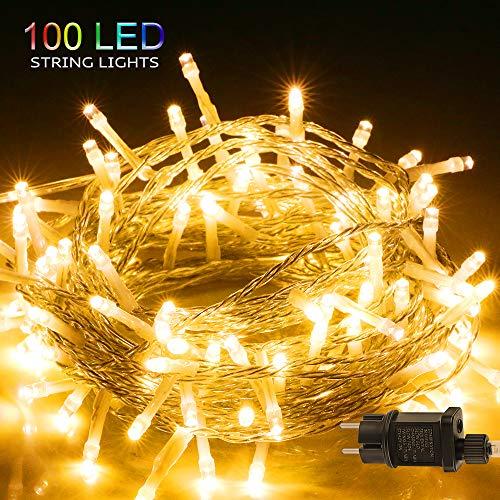 LED Lichterkette, BIGHOUSE 100 LEDs 10M Lichterkette Außen mit Stecker Warmweiß, Wasserdichte IP44 für Party, Hochzeit, Geburtstag, Terrasse, Innen/Außen Dekoration