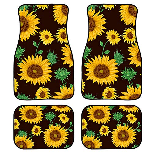 FUIBENG Universal 4 Pcs Car Floor Front & Rear Mats for Women Cool Sunflowers Print Neoprene Auto Foot Mats
