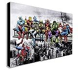 Marvel DC Comics Super Heroes Lunch Skyscraper sur toile Décoration murale...