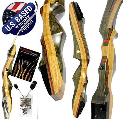 Southwest Archery Spyder Takedown Recurve Bow – Compact Fast Accurate 62' Hunting & Target Bow – Right & Left Hand – Draw Weights in 20-60 lbs – Beginner to Intermediate - USA Company Spyder-35R