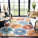 Safavieh Cabana Collection CBN801A Floral Indoor/ Outdoor Non-Shedding Easy Cleaning Patio Backyard Porch Deck Mudroom Accent Area Rug, 4' x 6', Cream / Red
