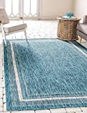 Unique Loom Outdoor Border Collection Casual Solid Border Transitional Indoor and Outdoor Flatweave Teal Area Rug (6' 0 x 9' 0)