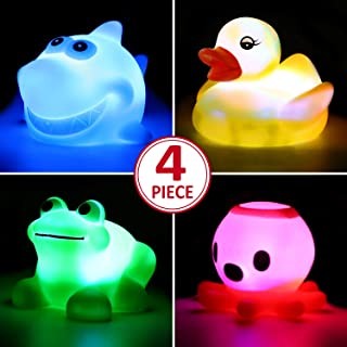 Yeonha Toys Bath Toy,Can Flashing Colourful Light(4 Pack), Floating Bath Toy, Light Up..