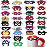 TEEHOME Superhero Masks Party Favors for Kid (33 Packs) Felt and Elastic - Superheroes Birthday Party Masks with 33 Different Types for Children