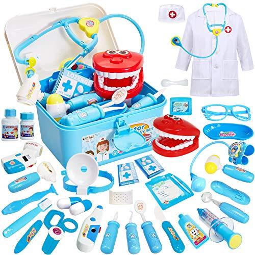 Buyger 35 Pezzi Giochi Valigetta Dottore Giocattolo Bambini 3 Anni Costume da Dottore Stetoscopio con Luci e Suono (Blu)