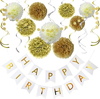 Litaus Birthday Decorations, Gold and White Happy Birthday Decorations for Women -Serves..
