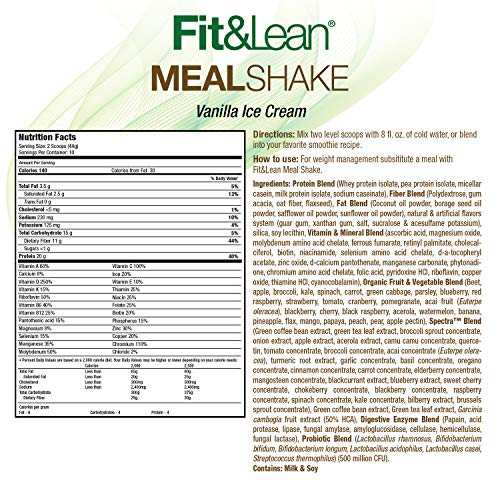 Fit & Lean Fat Burning Meal Replacement, Vanilla, 0.97 lb 9