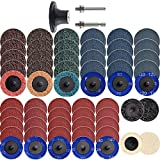 NYXCL 60Pcs Roloc Sanding Discs Set, 2 inch Quick Change Sanding Discs with 1/4' Holders, Die Grinder Surface Conditioning Burr Rust Paint Removal