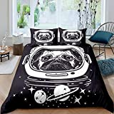 Homewish Space Dog Duvet Cover Set Pug in an Astronaut's Helmet Bedding Set 2pcs for Kids Outer Space Theme Comforter Cover Microfiber Bedspread Cover with 1 Pillow Case(No Comforter) Twin Size