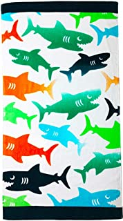 "YIFONTIN Beach Towel for Kids Shark Velour Terry Towel Cotton Blanket Throw 24"" X 48"".."