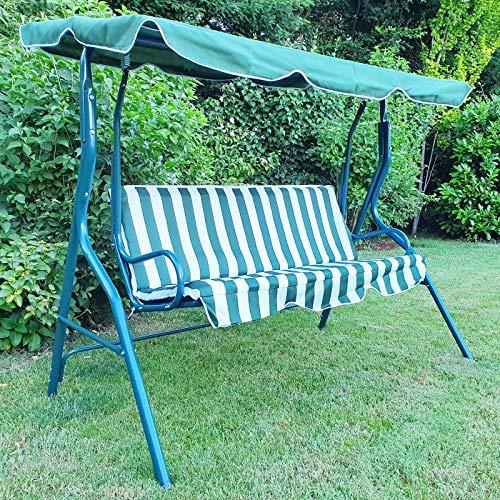 Tenzo-R 37455 Hollywoodschaukel Gartenschaukel Outdoor Indoor 3 Sitzer mit Dach Grün Weiß