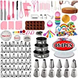 Cake Decorating Supplies Kits 2021 Upgrade 464 Pcs With Springform Cake Pans Set, 48 Piping Icing Tips, 6 Russian Nozzles, Cake Rotating Turntable, Muffin Cup Mold, Cake Baking Supplies for Beginners