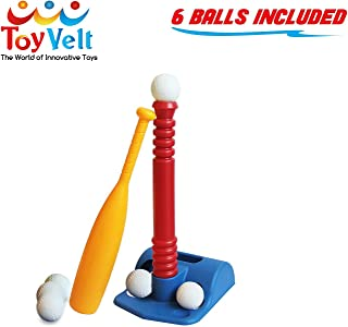 ToyVelt T-Ball Set for Toddlers, Kids, Baseball Tee Game Includes 6 Balls – Adapts..