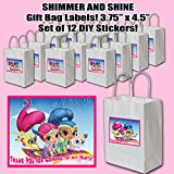 Shimmer and Shine Party Favors Supplies Decorations Gift Bag Label STICKERS ONLY 3.75' x 4.75' -12 pcs